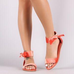 Fushsia bow velvet sandals